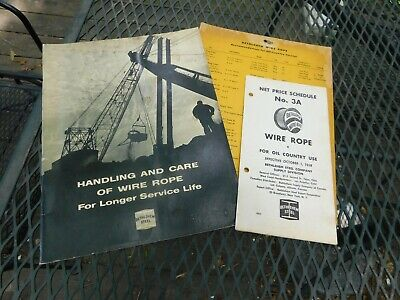 1954 Bethlehem Steel Handling and Care Wire Rope Book Price Folder & Sign