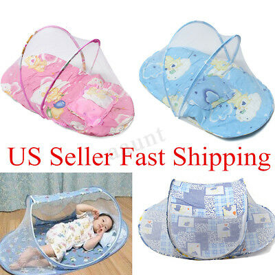 Baby Infant Foldable Mosquito Crib Travel Bed Net Tents Cotton US USA