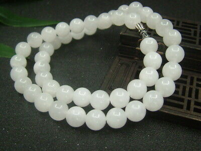 Chinese Antique Celadon Nephrite Hetian-White Jade 10mm Bead Necklace Pendant804