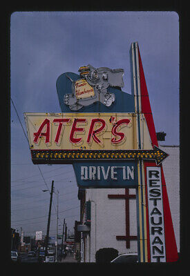 Photo of Ater's Drive-in sign Columbus Ohio 1984 40a