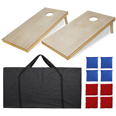 Size 4x2' Bean Bag Toss Cornhole Board Game Set  Unfinished Solid Wood