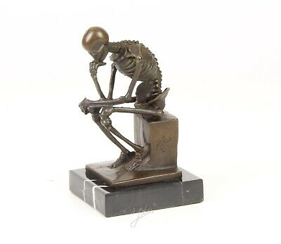 Skeleton The Thinker Signed Pure Bronze Hotcast Statue Figure See My Other Items