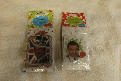 2x mr bean car air fresheners green apple and strawberry scented new