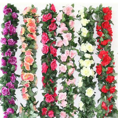 2x 2.5m Artificial Flower Silk Rose Leaf Garland Vine Ivy Home Wedding Garden TA
