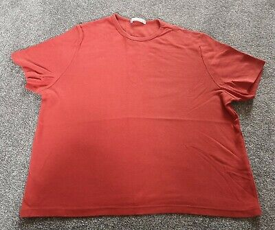 Ladies Marks & Spencer Orange Red Size 16 Cotton Plain Casual T-shirt Top Crop