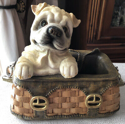 VTG Large English Baby Bulldog Inside a Purse Very Detailed Ceramic