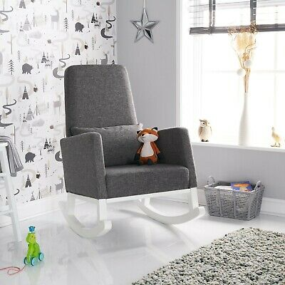 Obaby High Back Rocking Chair – White with Grey Cushion - JUNE OFFER