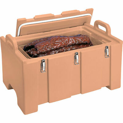 Cambro 40 Qt Cooler / Insulated Food Carrier, Molded Handles Coffee Beige 100Mpc