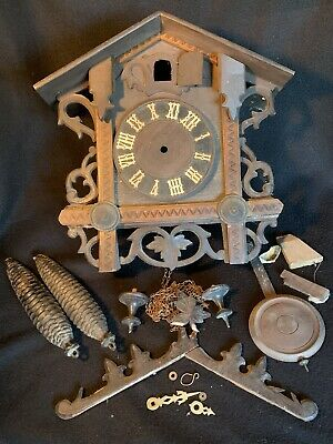 Antique German Black Forest Gatehouse KUEHL Cuckoo Clock Repair Project