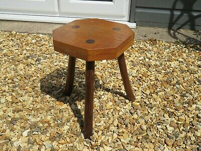 Antique Oak Milking Stool Tripod 3 Splayed Legs Side Table / Pot Stand Seat