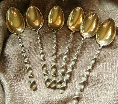 Antique  Sterling Silver  6 Demitasse Spoons with Square Twist Handle