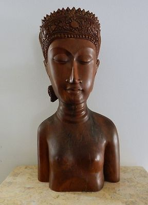 Old & Large Wooden Female Bust - Apsara -  Southeast Asia