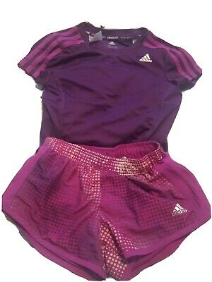 Adidas girls age 7-8 years pink purple Climalite/ Climacool shorts and t-shirt