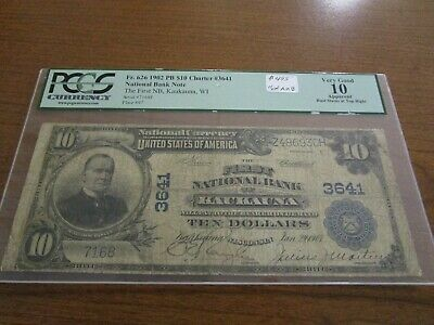 Large Size Wisconsin National Currency $10 Note First NB Kaukauna PCGS VG 10 Net