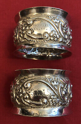 Pair Of Antique Victorian Silver Plated Napkin Rings c.1897