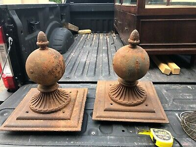 """pair MASSIVE cast iron fence post finials 14.25"""" square base x 17"""" high rusted"""