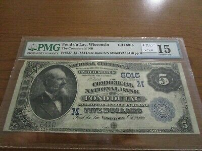 Large Size Wisconsin National Currency $5 Note Commercial NB Fond Du Lac PMG 15