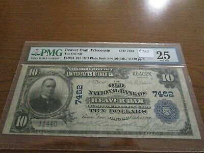 Large Size Wisconsin National Currency $10 Note Old NB Beaver Dam PMG 25