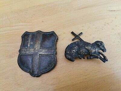 Pair Of Antique Horse Harness Badges Armorial And Lamb With Cross