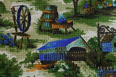 "VTG 1960-70s Farm Scene Print Fabric Upholstery Curtain Pillow 48""x 22"""