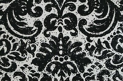 "VTG 1960-70s Mod Black & White Print Fabric Upholstery Curtain Pillow 48""x 54"""