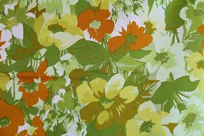 "VTG 1960-70s Mod Groovy Flower Vat Dyed Screen Print Fabric Upholstery 48""x 63"""