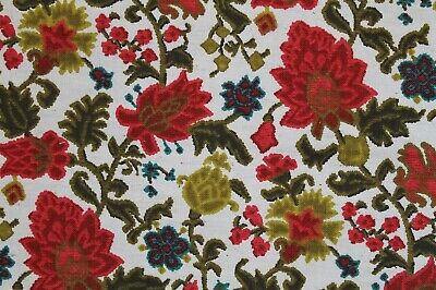 "VTG 1960-70s Mod Retro Floral Print Fabric Upholstery Curtains Pillows 45""x 136"""