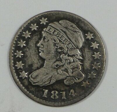 BARGAIN 1814 LARGE Date Capped Bust Silver Dime EXTRA FINE 10c