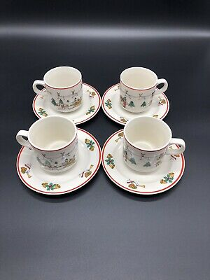 "Jamestown China ""The Joy of Christmas""  4 Cups & 4 Saucers-EUC"