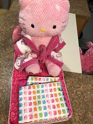 Build-A-Bear Hello Kitty Plush Pink with Outfit, Bed, Blanket & Pillow