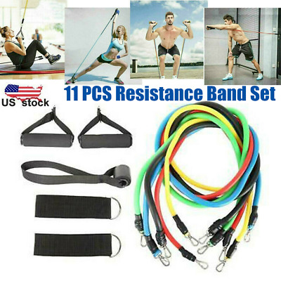11 Pcs Resistance Bands Workout Fitness Exercise Tube Straps Cushioned Handles