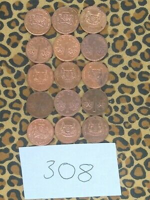 Singapore Coin Lot- 15 One Cent Coins- 1986-2001- Excellent Condition