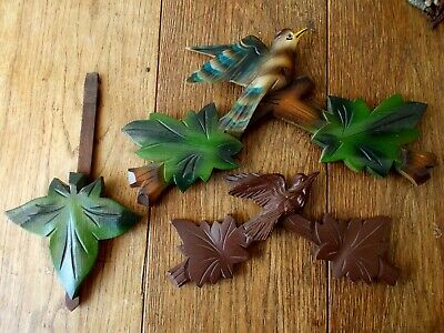 Vintage~Antique Clock Parts For Spairs~Repairs~Carved Wooden Cuckoo Clock Bits