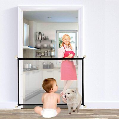 UK Retractable Pet Dog Gate Safety Guard Folding Baby Stair Gate Isolation √
