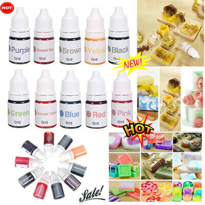 10 Colors Dyes Soap Making Coloring Set Liquid Kit Colorants For DIY Bath BombJL