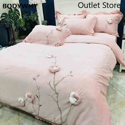 Soft Velvet Fleece Short Plush Handmade  Embroidery Cover Bed Sheet Bedding Set