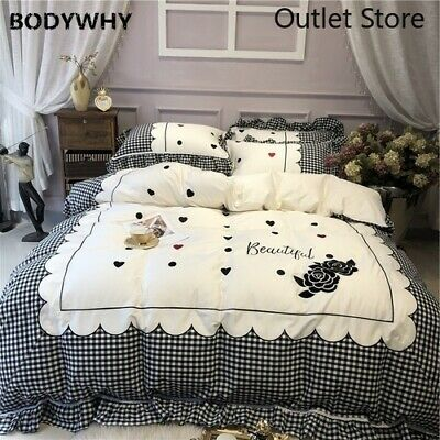 Black White Lattice Rose Embroidery Egyptian Cotton Bedding Set Cover Bed Sheet