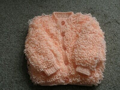 Baby Loopy Cardigan in Peach to fit 12-18 months