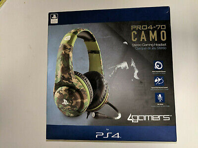Playstation 4 Gaming Chat Headset + Mic Control * 4Gamers Pro4-70 Camo Ps4 Pc