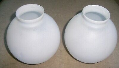 Matching Pair Antique Frosted White Glass Lamp Shades / Globes