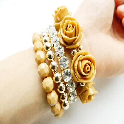 4Pcs/Set Multilayer Stretch Acrylic Bead Flower Crystal Bracelets Women Jewelry