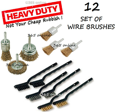 12 Wire Cup/Wheel Brush Set For Drill Steel Brass Metal Cleaning Rust Sanding