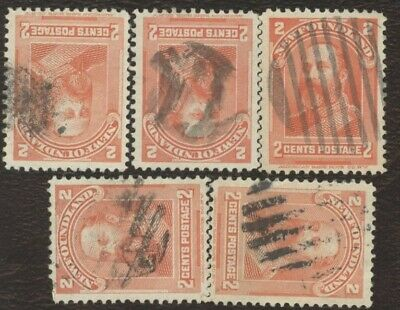 Canada Stamps # 81, 2¢, 1897 Newfoundland, lot of 5, used stamps.