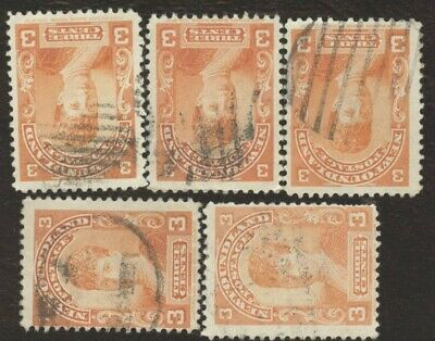 Canada Stamps # 83, 3¢, 1897 Newfoundland, lot of 5, used stamps.