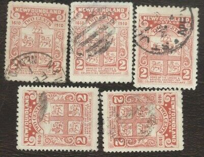 Canada Stamps # 88, 2¢, 1910 Newfoundland, lot of 5, used stamps.