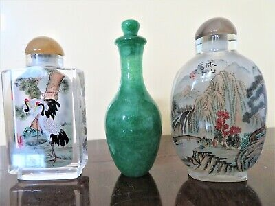 2 Chinese Reversed/Inside Painted Glass Snuff Bottles + Green Stone Snuff Bottle