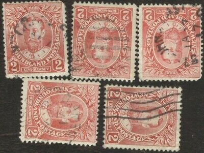 Canada Stamps # 105, 2¢, 1910 Newfoundland, lot of 5, used stamps.
