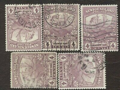 Canada Stamps # 118, 4¢, 1919 Newfoundland, lot of 5, used stamps.