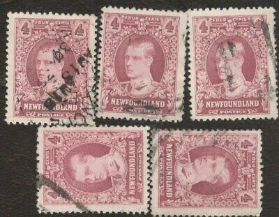 Canada Stamps # 166, 4¢, 1928 Newfoundland, lot of 5, used stamps.