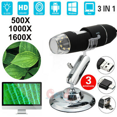 1000/1600X Magnifier 8LED USB Digital Microscope Camera for PC Laptop Android